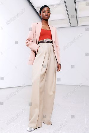 Stock Photo of A Model wearing an outfit from the Womens Ready to wear, pret a porter, collections, winter 2021 2022, original creation, during the Womenswear Fashion Week in New York, from the house of Victoria Beckham
