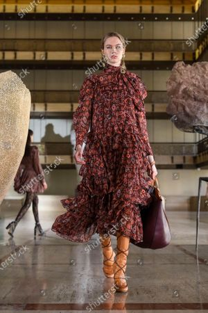 Stock Photo of A Model wearing an outfit from the Womens Ready to wear, pret a porter, collections, winter 2021 2022, original creation, during the Womenswear Fashion Week in New York, from the house of Ulla Johnson