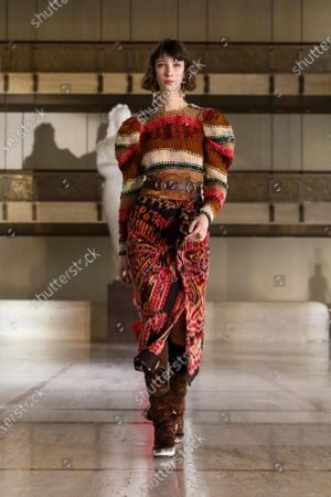 Stock Image of A Model wearing an outfit from the Womens Ready to wear, pret a porter, collections, winter 2021 2022, original creation, during the Womenswear Fashion Week in New York, from the house of Ulla Johnson