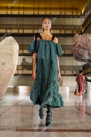 Stock Picture of A Model wearing an outfit from the Womens Ready to wear, pret a porter, collections, winter 2021 2022, original creation, during the Womenswear Fashion Week in New York, from the house of Ulla Johnson