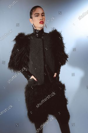 A Model wearing an outfit from the Womens Ready to wear, pret a porter, collections, winter 2021 2022, original creation, during the Womenswear Fashion Week in New York, from the house of Prabal Gurung