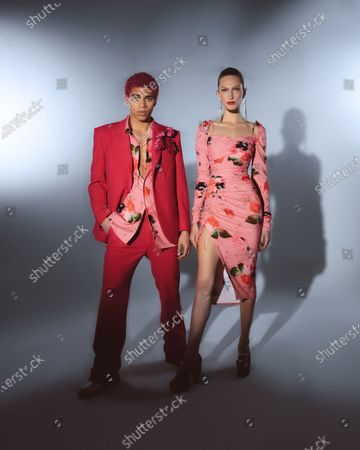 Stock Picture of A Model wearing an outfit from the Womens Ready to wear, pret a porter, collections, winter 2021 2022, original creation, during the Womenswear Fashion Week in New York, from the house of Prabal Gurung