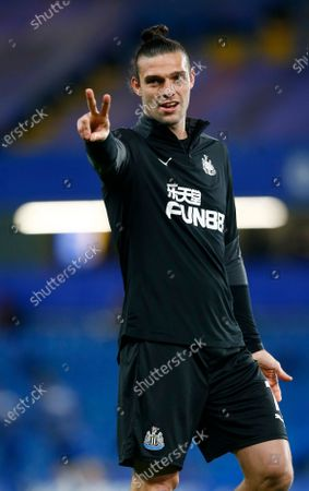 Newcastle United's Andy Carroll during the pre-match warm-up