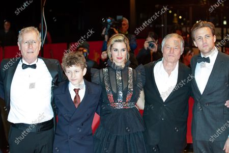 Director Hans Petter Moland, Jon Ranes, Danica Curcic, Bjorn Floberg and Tobias Santelmann attends the 'Out Stealing Horses' Premiere at the 69th Berlinale International Film Festival Berlin on February 9, 2019, in Berlin, Germany. The Berlin film festival will be running from February 7 to 17, 2019. Nearly 400 movies from around the world will be presented, with 17 vying for the prestigious Golden Bear top prize.