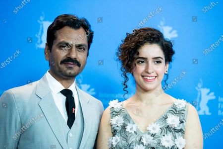 Nawazuddin Siddiqui (L) and Sanya Malhotra attend the 'Photograph' photocall during the 69th Berlinale International Film Festival Berlin at Grand Hyatt Hotel on February 13, 2019 in Berlin, Germany.