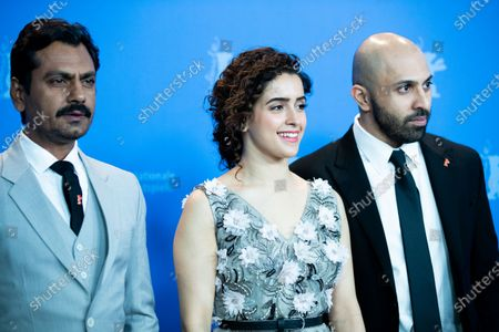 (L-R) Nawazuddin Siddiqui, Sanya Malhotra and director Ritesh Batra attends the 'Photograph' photocall during the 69th Berlinale International Film Festival Berlin at Grand Hyatt Hotel on February 13, 2019 in Berlin, Germany.