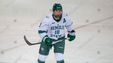 Bemidji State defenseman Brad Johnson (18) skates against Northern Michigan during an NCAA hockey game, in Bemidji, Minn