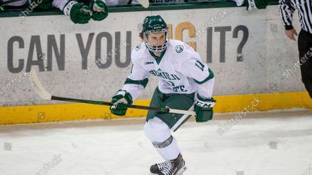 Stock Image of Bemidji State forward Eric Martin (11) skates against Northern Michigan during an NCAA hockey game, in Bemidji, Minn
