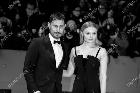 (EDITOR'S NOTE: Image was converted in black and white) Clemens Schick and Maria Dragus attends the 'The Kindness Of Strangers' Red Carpet at the 69th Berlinale International Film Festival Berlin on February 7, 2019, in Berlin, Germany. The Berlin film festival will be running from February 7 to 17, 2019. Nearly 400 movies from around the world will be presented, with 17 vying for the prestigious Golden Bear top prize.