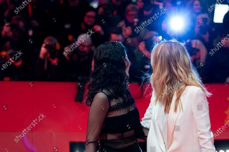 Stock Photo of Sibel Kekilli (L) and Nora von Waldstatten attends the 'The Kindness Of Strangers' Red Carpet at the 69th Berlinale International Film Festival Berlin on February 7, 2019, in Berlin, Germany. The Berlin film festival will be running from February 7 to 17, 2019. Nearly 400 movies from around the world will be presented, with 17 vying for the prestigious Golden Bear top prize.