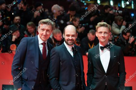 Esben Smed Jensen, David Dencik and Nicolaj Kopernikus attends the 'The Kindness Of Strangers' Red Carpet at the 69th Berlinale International Film Festival Berlin on February 7, 2019, in Berlin, Germany. The Berlin film festival will be running from February 7 to 17, 2019. Nearly 400 movies from around the world will be presented, with 17 vying for the prestigious Golden Bear top prize.