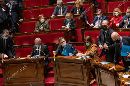 Francois de Rugy, French Interior Minister Gerald Darmanin, French Minister in charge of Equality between Men and Women Marlene Schiappa, French Justice Minister Eric Dupond-Moretti and French Education, Youth and Sports Minister Jean-Michel Blanquer.