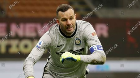 Stock Picture of Inter Milan's goalkeeper Samir Handanovic controls the ball during a Serie A soccer match between Inter Milan and Lazio at the San Siro stadium in Milan, Italy