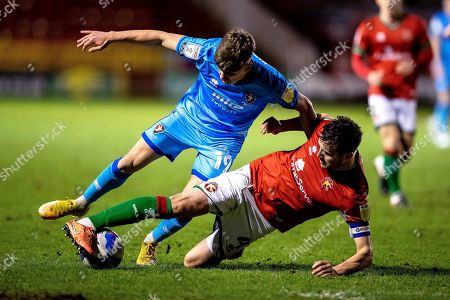 Stock Picture of Matthew Sadler of Walsall tackles George Lloyd of Cheltenham Town    during the EFL Sky Bet League 2 match between Walsall and Cheltenham Town at the Banks's Stadium, Walsall