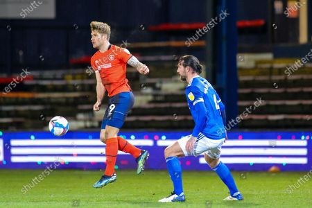 Stock Photo of James Collins (19) of Luton Town during the EFL Sky Bet Championship match between Luton Town and Cardiff City at Kenilworth Road, Luton