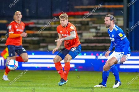 Stock Image of James Collins (19) of Luton Town during the EFL Sky Bet Championship match between Luton Town and Cardiff City at Kenilworth Road, Luton