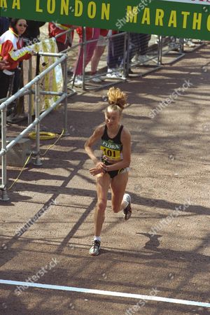 The 1997 Flora London Marathon. Liz Mccolgan Finishing Second.