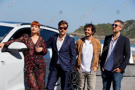 Actress Najwa Nimri, Kike Maíllo, Javier Pereira, Alberto Ammann attend 'La Octava Dimension' photocall during the 66th San Sebastian International Film Festival on September 27, 2018 in San Sebastian, Spain