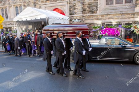 "Pallbearers carry the casket of pioneering Black actor Cicely Tyson from Harlem's famed Abyssinian Baptist Church to a hearse on . Tyson died Jan. 28. The New York-born actor was 96. Her performance as a sharecropper's wife in the 1972 movie ""Sounder"" cemented her stardom and earned her an Oscar nomination"