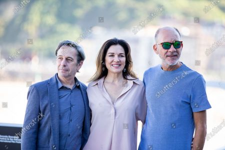(L-R) Alfredo Castro Gomez, Andrea Frigerio, Daro Grandinetti attends the 'Rojo' Photocall during the 66th San Sebastian International Film Festival on September 23, 2018 in San Sebastian, Spain.