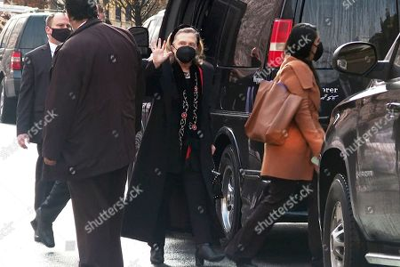 Hillary Clinton arrives for the funeral of pioneering Black actor Cicely Tyson in the Harlem neighborhood of New York City on . Tyson died Jan. 28. The New York-born actor was 96