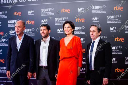(L-R) Dario Grandinetti, Benjamin Naishtat, Andrea Frigerio, Alfredo Castro during the 'Rojo' Red Carpet at the 66th San Sebastian International Film Festival on September 23, 2018 in San Sebastian, Spain.