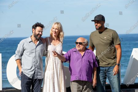 (L-R) Miquel Fernandez, Ingrid Gracia-Jonson, Danny DeVito, El Chojin attend the 'Smallfoot' Photocall during the 66th San Sebastian Film Festival in San Sebastian on September 22, 2018 in San Sebastian, Spain.