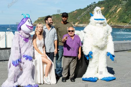 (L-R) Ingrid Garca-Jonsson, Miquel Fernandez, El Chojin, Danny DeVito attend the 'Smallfoot' Photocall during the 66th San Sebastian Film Festival in San Sebastian on September 22, 2018 in San Sebastian, Spain.