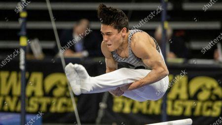 Iowa's Evan Davis during an NCAA gymnastics meets, in Iowa City, Iowa