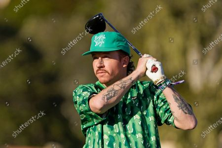 Stock Photo of Macklemore during the charity challenge event of the AT&T Pebble Beach Pro-Am golf tournament, in Pebble Beach, Calif