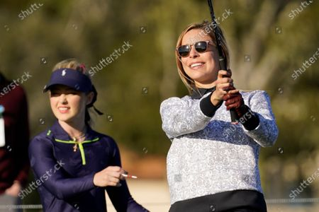 Kira K. Dixon during the charity challenge event of the AT&T Pebble Beach Pro-Am golf tournament, in Pebble Beach, Calif. At left is Kathryn Newton