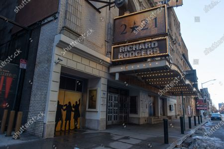 Stock Photo of The Richard Rodgers Theatre remains closed following restrictions imposed to slow the spread of coronavirus in New York