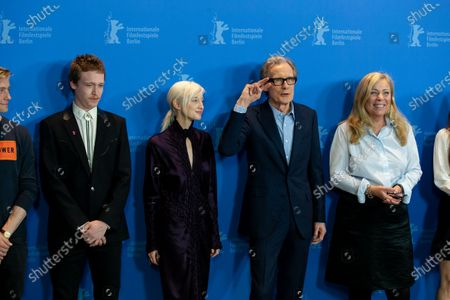 """(L-R) Caleb Landry Jones, Andrea Riseborough, Bill Nighy, Lone Scherfig, Zoe Kazan attend the """"The Kindness Of Strangers"""" Photocall  at the 69th Berlinale International Film Festival Berlin at Grand Hyatt Hotel on February 7, 2019, in Berlin, Germany. The Berlin film festival will be running from February 7 to 17, 2019. Nearly 400 movies from around the world will be presented, with 17 vying for the prestigious Golden Bear top prize. (Photo by Manuel Romano/NurPhoto)"""