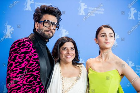 Ranveer Singh, Zoya Akhtar and Alia Bhatt attend the 'Gully Boy' Photocall at the 69th Berlinale International Film Festival Berlin on February 9, 2019, in Berlin, Germany. The Berlin film festival will be running from February 7 to 17, 2019. Nearly 400 movies from around the world will be presented, with 17 vying for the prestigious Golden Bear top prize. (Photo by Manuel Romano/NurPhoto)