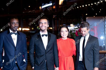 Seu Jorge, Wagner Moura, Bella Camero and Bruno Gagliasso attends the 'Marighella' Premiere during the 69th Berlinale International Film Festival Berlin at Grand Hyatt Hotel on February 15, 2019 in Berlin, Germany.  (Photo by Manuel Romano/NurPhoto)