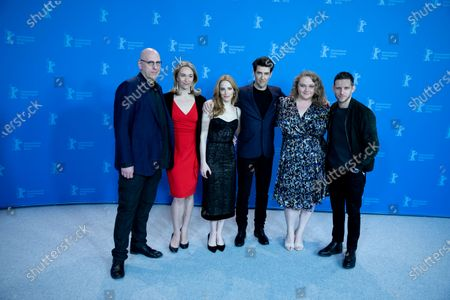 Oren Moverman, Celine Rattray, Jaime Ray Newman, Guy Nattiv, Danielle Macdonald and Jamie Bell attends the 'Skin' Photocall during the 69th Berlinale International Film Festival Berlin at Grand Hyatt Hotel on February 11, 2019 in Berlin, Germany.  (Photo by Manuel Romano/NurPhoto)