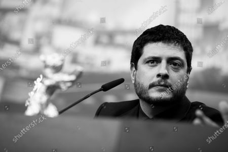 (EDITOR'S NOTE: Image was converted to black and white) Claudio Giovannesi attends the press conference after the closing ceremony of the 69th Berlinale International Film Festival Berlin at Berlinale Palace on February 16, 2019 in Berlin, Germany. (Photo by Manuel Romano/NurPhoto)
