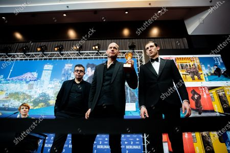 (L-R) Said Ben Said, Nadav Lapid, winner of the Golden Bear for Best Film for 'Synonymes' and Tom Mercier attend the press conference after the closing ceremony of the 69th Berlinale International Film Festival Berlin at Berlinale Palace on February 16, 2019 in Berlin, Germany. (Photo by Manuel Romano/NurPhoto)
