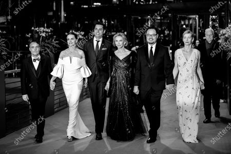 (EDITOR'S NOTE: Image was converted to black and white) Members of the International Jury Sebastin Lelio, Juliette Binoche, Rajendra Roy, Trudie Styler, Justin Chang and Sandra Hueller arrives for the closing ceremony of the 69th Berlinale International Film Festival Berlin at Berlinale Palace on February 16, 2019 in Berlin, Germany.  (Photo by Manuel Romano/NurPhoto)