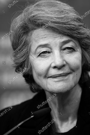 (EDITOR'S NOTE: Image was converted to black and white) Charlotte Rampling attends the Hommage Charlotte Rampling press conference during the 69th Berlinale International Film Festival Berlin at Grand Hyatt Hotel on February 14, 2019 in Berlin, Germany. Rampling is this years recipient of the Honorary Golden Bear Award of the Berlinale. (Photo by Manuel Romano/NurPhoto)