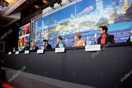 Justin Chang, Trudie Styler, Sebastin Lelio, Juliette Binoche, Sandra Hueller, Rajendra Roy during the International Jury Press Conference at the 69th Berlinale International Film Festival Berlin at Grand Hyatt Hotel on February 7, 2019, in Berlin, Germany. The Berlin film festival will be running from February 7 to 17, 2019. Nearly 400 movies from around the world will be presented, with 17 vying for the prestigious Golden Bear top prize. (Photo by Manuel Romano/NurPhoto)