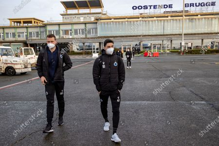 Stock Picture of Club's goalkeeper Simon Mignolet and Club's Federico Ricca pictured during the departure of Club Brugge KV, who are traveling from Oostende airport to Kiev, Ukraine on Wednesday 17 February 2021. Tomorrow Club will play FC Dynamo Kyiv in the first leg of the 1/16 finals of the UEFA Europa League competition.