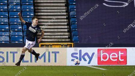 Ben Thompson of Millwall celebrates the second goal - sky bet advertising