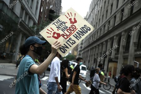 Designer Jason Christopher Peters marches during Black Lives Matter.Black Lives Matter demonstrations continue to march against police brutality and racial justice as New York City strives to reopen the economy on June 11, 2020 in New York City, US.  (Photo by John Lamparski/NurPhoto)