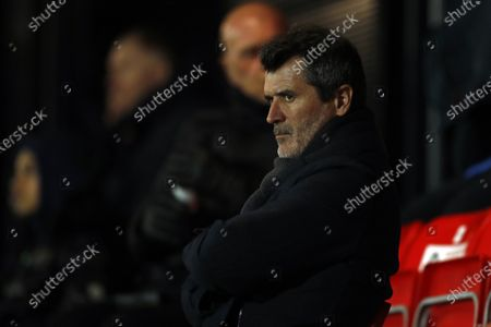 Roy Keane looking on  during the Sky Bet League 2 match between Salford City and Barrow at Moor Lane, Salford on Tuesday 16th February 2021.  (Photo by Chris Donnelly/MI News/NurPhoto)