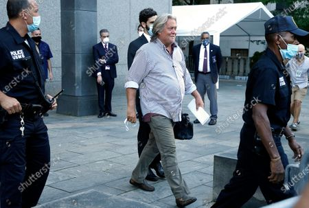 Former Chief Strategist for US President Trump, Steve Bannon exits Manhattan Federal Court. Bannon was arraigned on fraud charges that he and three others used money from his group ''We Build The Wall'' for personal expenses.