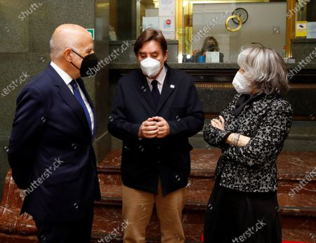 Instituto Cervantes' director Luis Garcia Montero (C), Efe news agency president Gabriela Canas (R) and KPMG Spain's CEO Hilario Albarracin (L) chat upon their arrival at the headquarters of the Instituto Cervantes in Madrid, central Spain, 17 February 2021, during the second of the forums organized by EFE news agency and the consulting firm KPMG, with the theme 'The challenge of digitization', in which the opportunities that European funds represent for Spain after covid-19 are analyzed.
