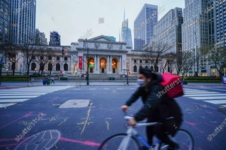 A view of New York Public Library - Stephen A. Schwarzman Building  New York City, USA during Coronavirus pandemic on April 19, 2020.