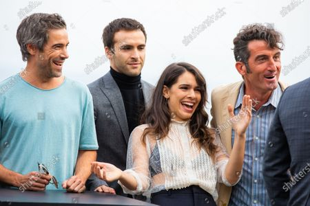 (L-R) Unax Ugalde, Ricardo Gomez, Claudia Traisac, Luis Zahera attends 'Vivir Sin Permiso' photocall during the 66th San Sebastian Film Festival on September 21, 2018 in San Sebastian, Spain.