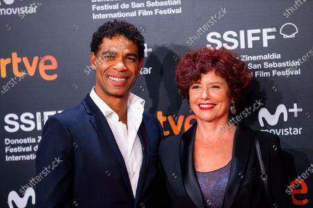 Director Iciar Bollain (R), and actors Carlos Acosta (L) during the 'Yuli' Red Carpet at the 66th San Sebastian International Film Festival on September 23, 2018 in San Sebastian, Spain.